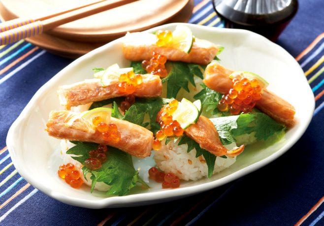 鮭ハラスのひと口てまり寿司